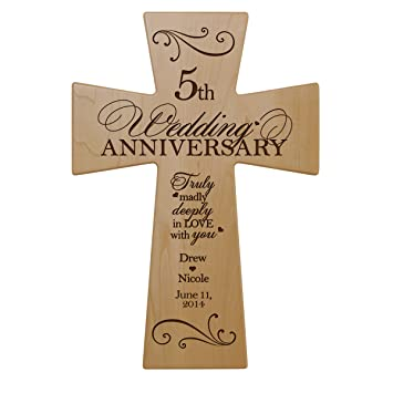 Amazon Personalized 5th Wedding Anniversary Maple Wood Wall
