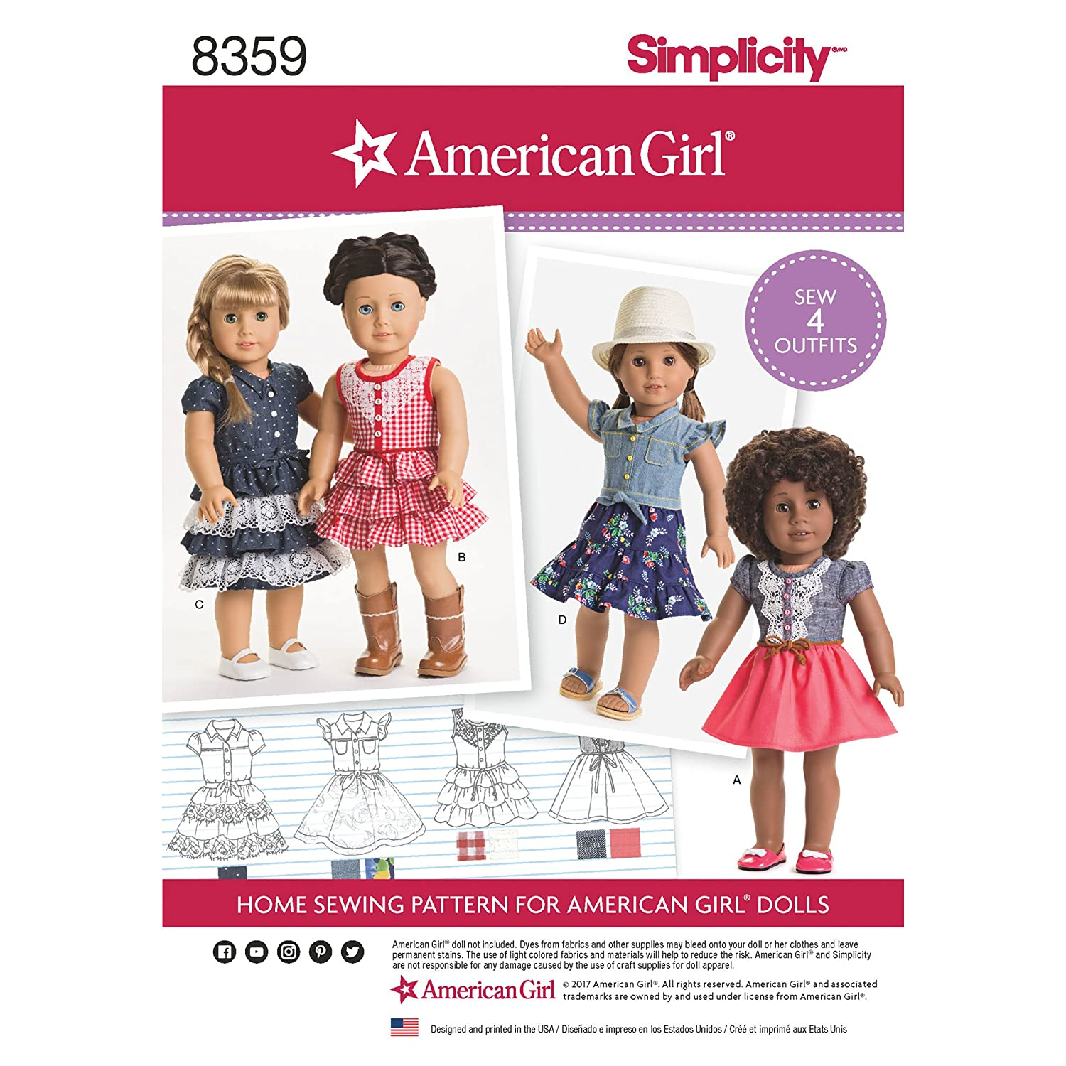 Simplicity Patterns US8359OS American Girl Doll Clothes, One Size Simplicty Creative Corp