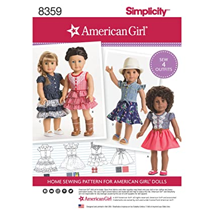 Amazon Simplicity Creative Patterns US40OS American Girl Doll Simple American Girl Patterns