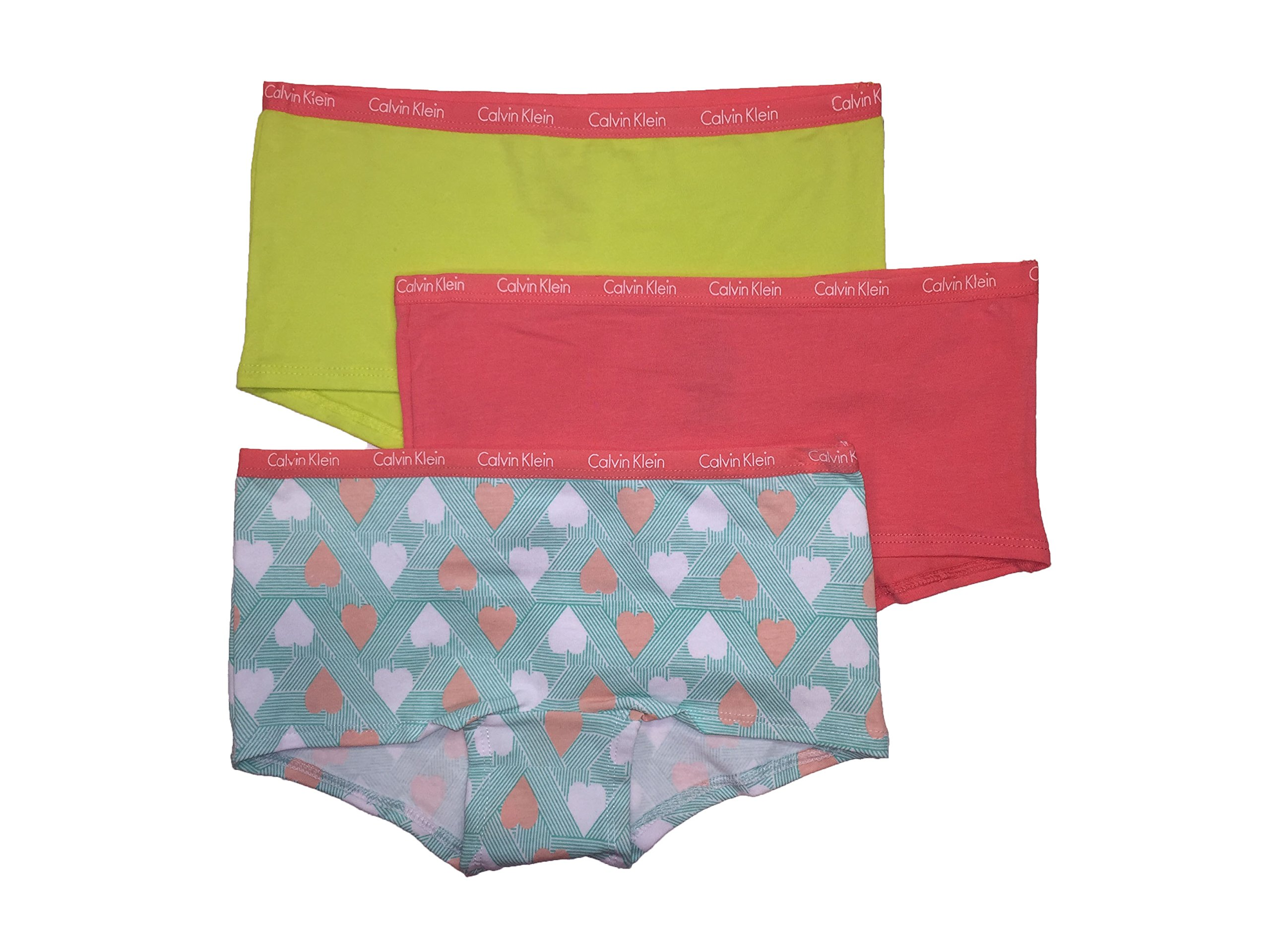 93760586a83f Galleon - Calvin Klein Girls Boy Short Panties, 3 Pack (Lime  (37D37043-99)/Vivid Pink/hearts, Small)