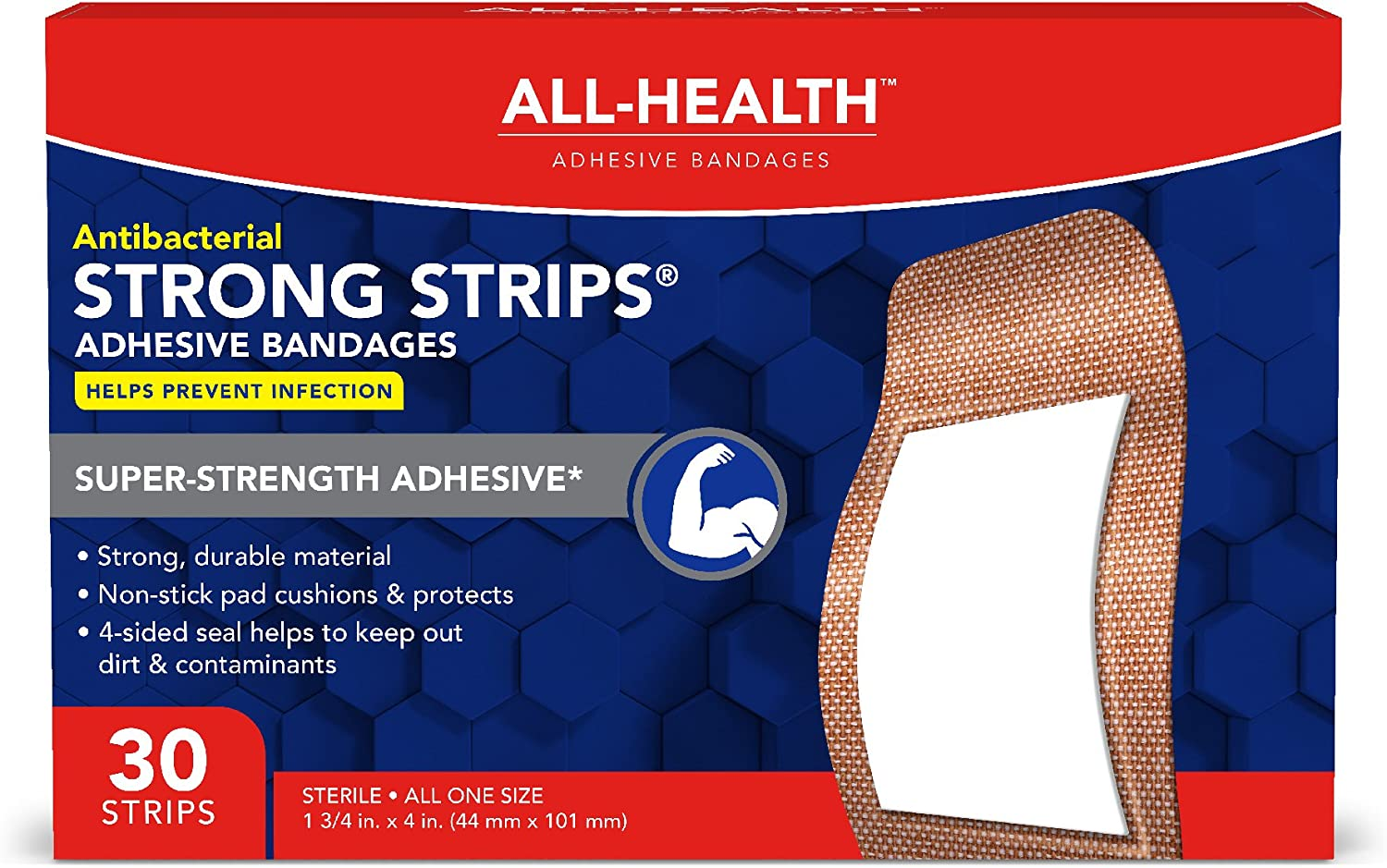All Health Antibacterial Heavy Fabric Strong Strip Adhesive Bandages, XL 1.75 in x 4 in, 30 ct | Extra Large, Helps Prevent Infection, Durable Protection for First Aid and Wound Care: Health & Personal Care