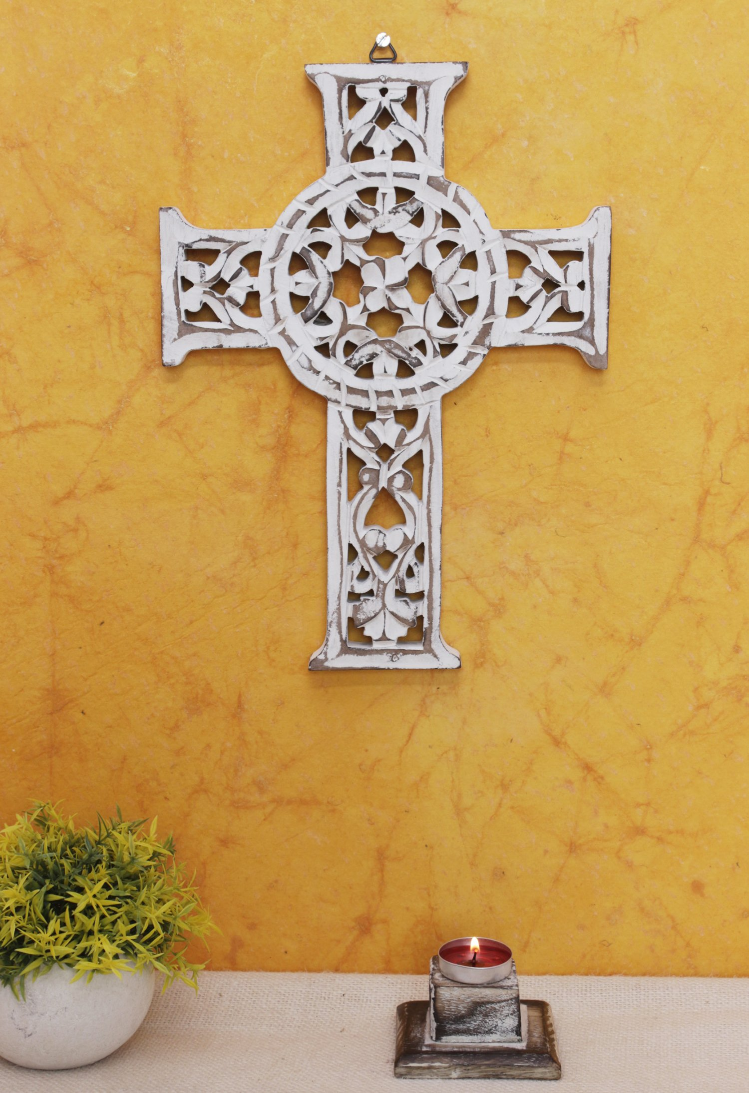 The StoreKing Wooden Wall Hanging French Cross 12'' with Celtic Hand Carvings Religious Cross Home Living Room Decor (Design4)