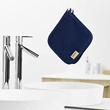 Toallitas desmaquillantes reutilizables La Beauté - Toallas para cara ecológicas y lavables - Toalla de microfibra para limpieza facial - 21 x 21 cm - Azul ...