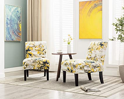 Admirable Altrobene Morden Armless Accent Chairs Slipper Side Chairs Living Room Bedroom Chair Set Of 2 With 4 Pack Thick Jacquard Fabric Removable Washable Squirreltailoven Fun Painted Chair Ideas Images Squirreltailovenorg