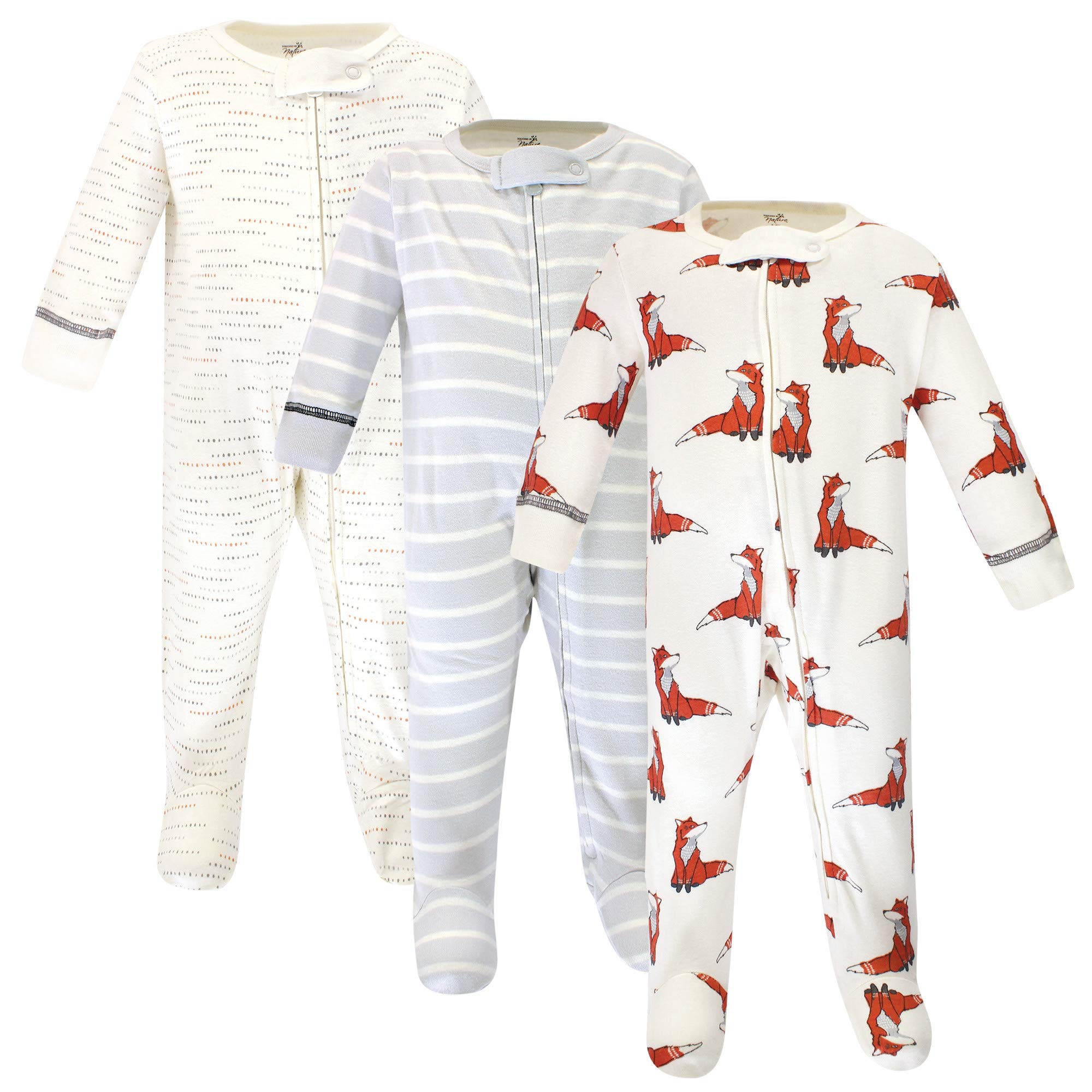Touched by Nature Baby Organic Cotton Sleep and Play, boho fox 3 Pack, 3-6 Months (6M)
