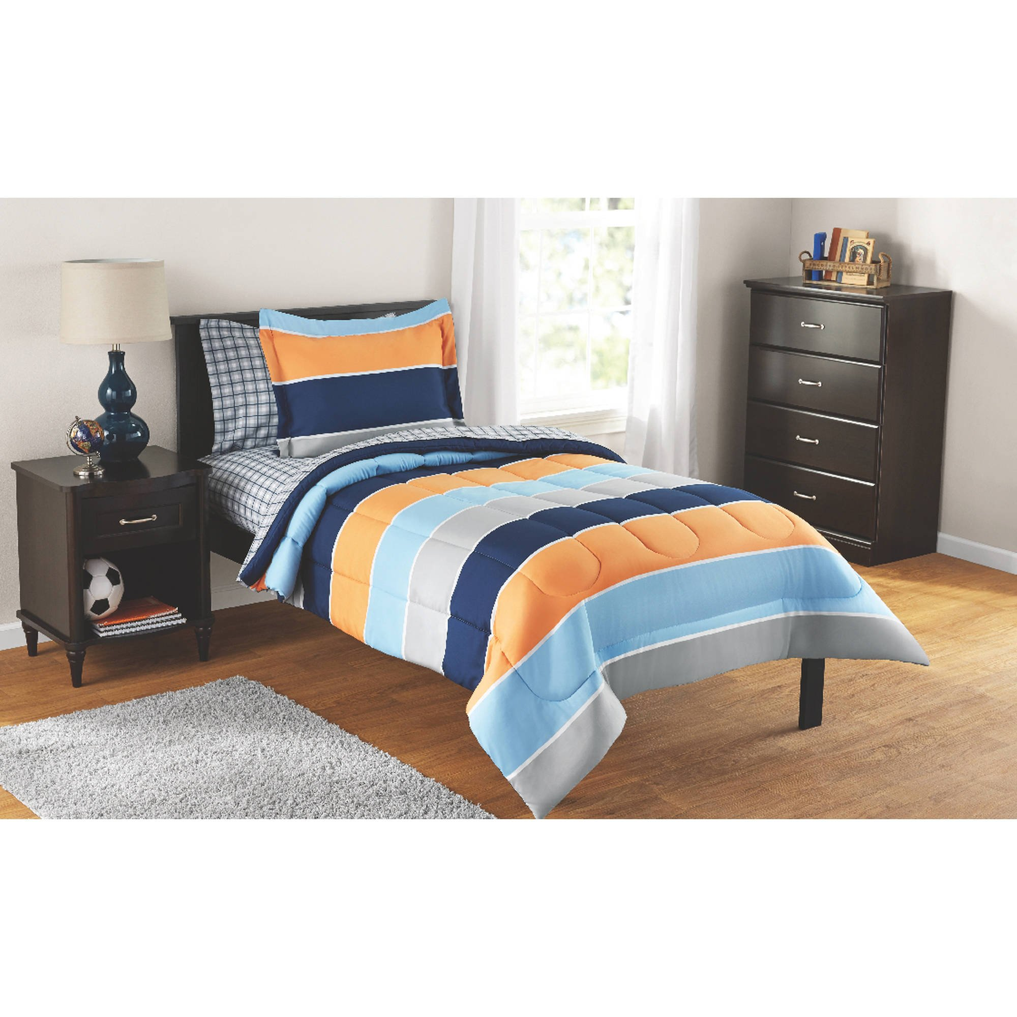 Mainstays Kids 5-Piece Bed in a Bag Coordinating Bedding Set, Twin (Blue, Orange and Gray Stripes)