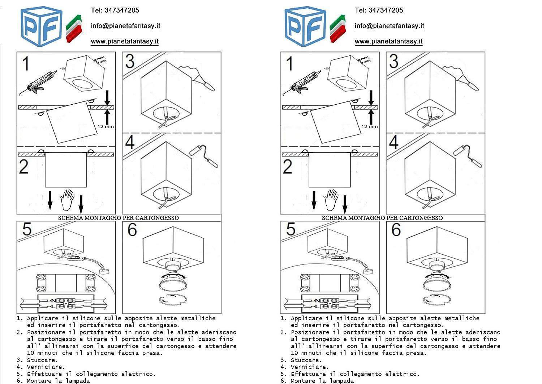 Schema Elettrico Lampada : Porta faretto cubico da interno in gesso ceramico pf24 lotto da 5