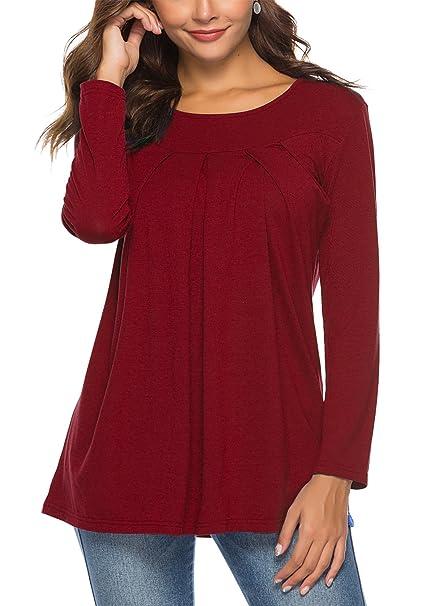 c51089b952c4 KISSMODA Women's Long Sleeves Pleated Shirts Plain Flowy Tunic Tops Blouses  at Amazon Women's Clothing store:
