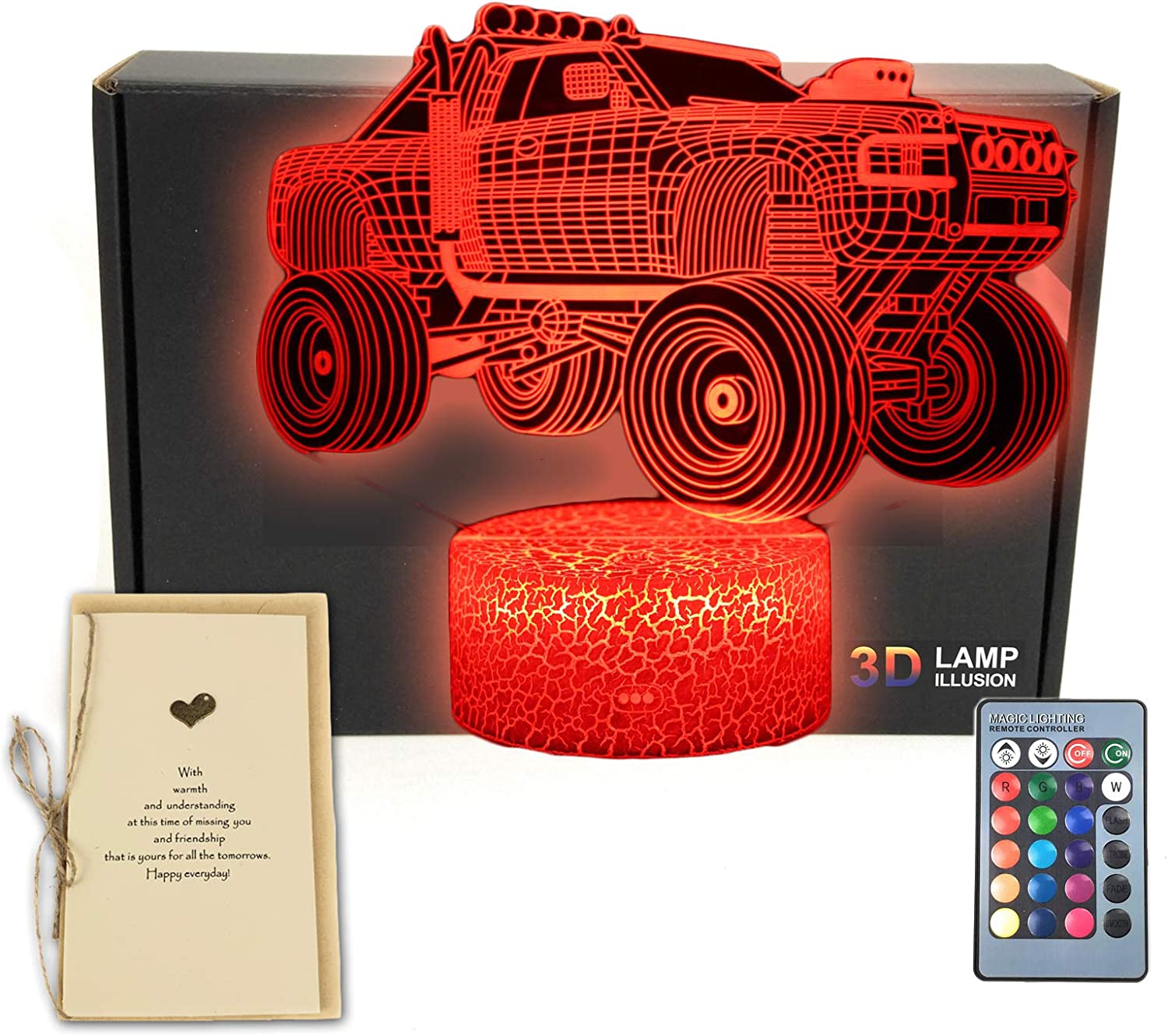 Monster Truck 3D Illusion Table Lamp Car Vehicle Room Decor Night Light with Greeting Card,16 Colors Remote Bedroom Decorations Toys Gifts Ideas for Men, Women, Kids, Boys, Girls, Teens