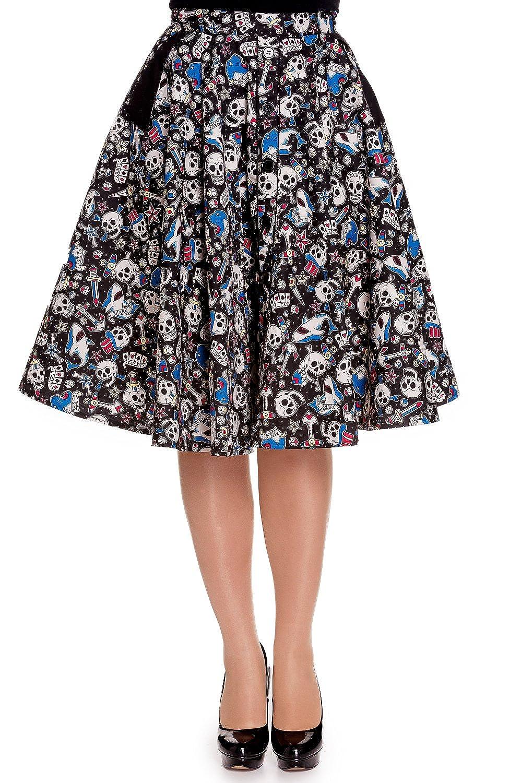 1950s Swing Skirt, Poodle Skirt, Pencil Skirts Skull Shark & Anchor Rock on Swing Skirt Hell Bunny Nautical Rockabilly  $51.00 AT vintagedancer.com