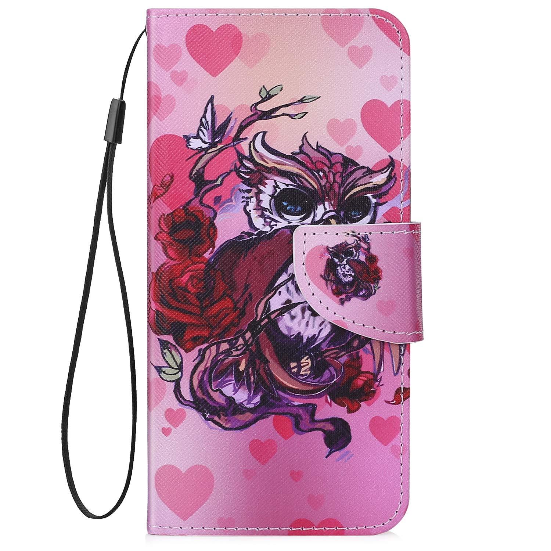 Uposao Kompatibel mit iPhone 6S 4.7 Handyh/ülle Leder H/ülle Bunt Muster Retro Flip Schutzh/ülle Brieftasche Wallet Bookstyle Klapph/ülle Leder Tasche Magnet Kartenfach,Katze Schmetterling