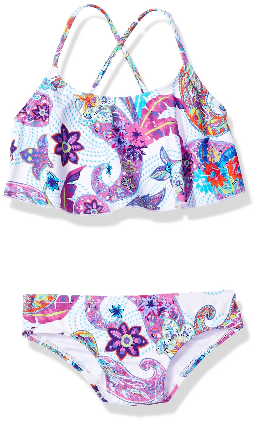 Kanu Surf Big Girls' Alania Flounce Bikini Beach Sport 2-Piece Swimsuit, Melody White Paisley, 8