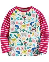Fiream Girls' Cotton Crewneck Solid Long Sleeve T-shirt