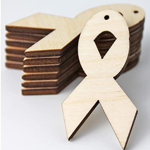Unfinished Wood Laser Cutout Awareness Ribbon Ribbons Cut Out Dangle Earring Jewelry Blanks Shape Crafts Made in Texas ALL SIZES BULK 12pc to 100pc