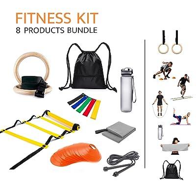Équipement portable Fitness Kit complet, 8Produits pour entraînement fonctionnel de plein air et Gym (anneaux de bois, set de 10Cônes, échelle d'agilité 12barreaux, corde &ag