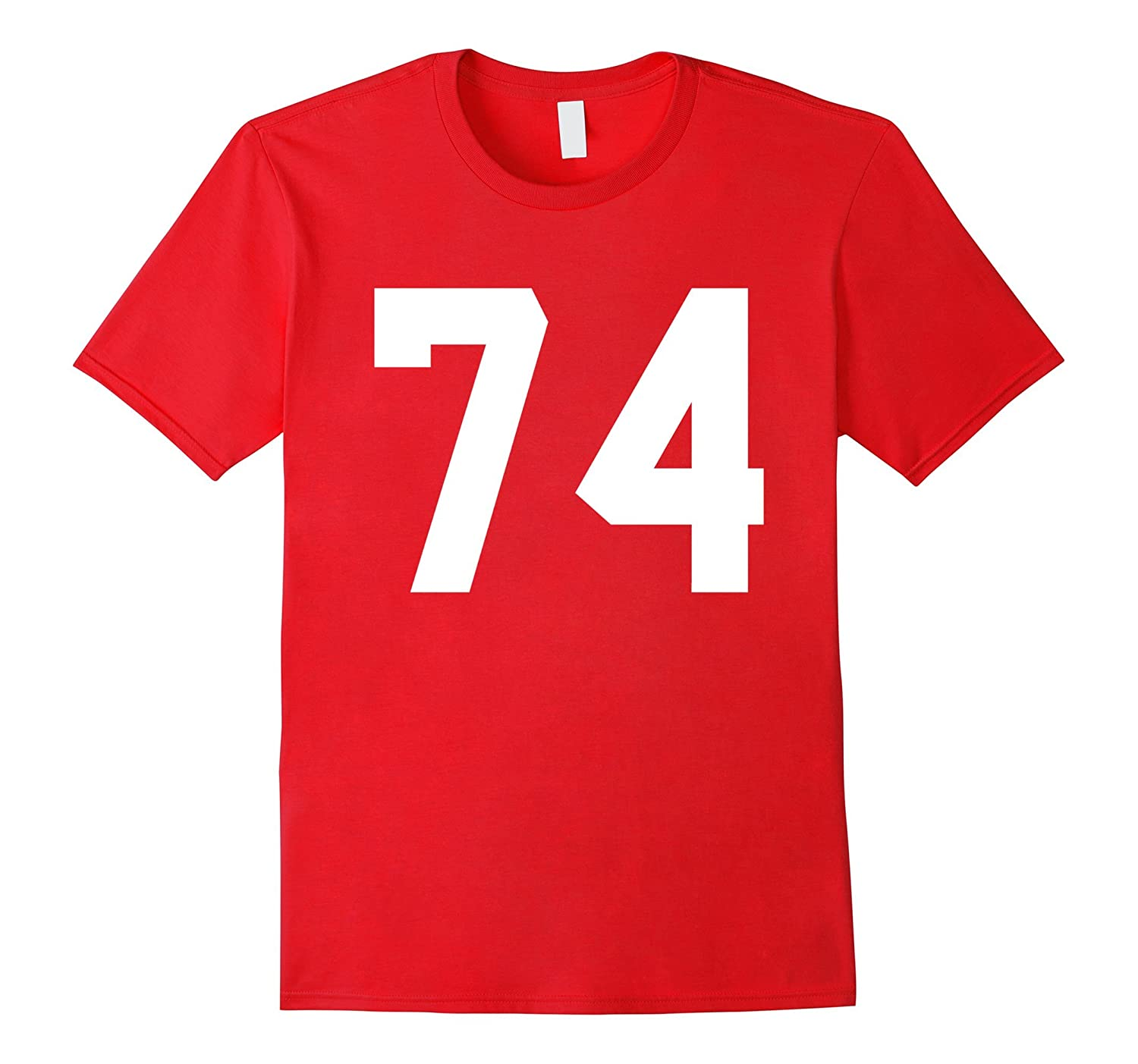 #74 Team Sports Jersey Number Front & Back Player / Fan Tee-CL