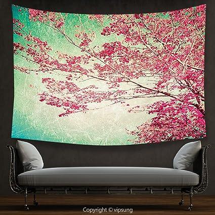 Amazon.com: House Decor Tapestry Vintage Fall Foliage Pink Florets ...