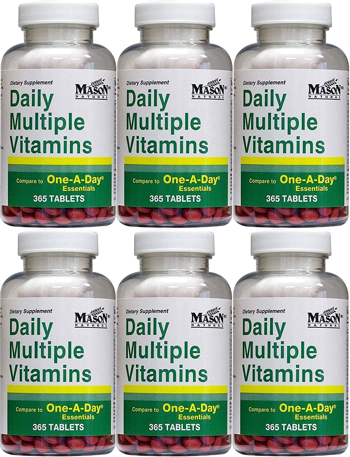 Daily Multiple Vitamins Compare To One A Day Essentials Multivitamin Multimineral Supplement 365 Tablets per Bottle Pack of 6 Total 2190 Tablets