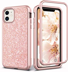 Coolwee Glitter Full Protective Case for iPhone 11 Heavy Duty Hybrid 3 in 1 Rugged Shockproof Women Girls Rose Gold for Apple iPhone 11 6.1 inch Shiny Bling
