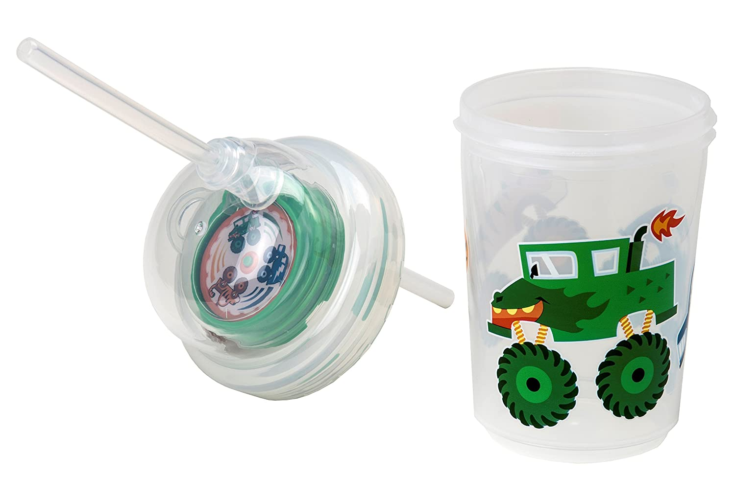 nuspin kids 240 ml Sip /& Spin Tasse Avec Paille Camions Monstres Tournent Quand On Boit