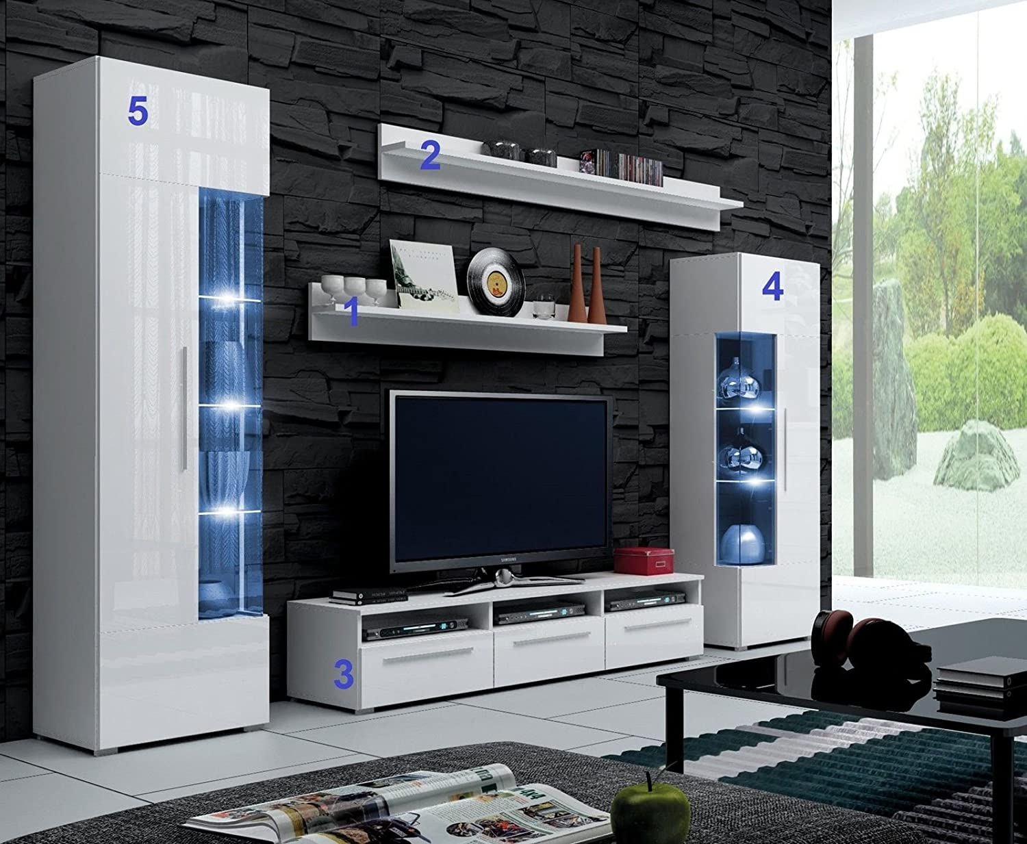 Wall Cabinets Living Room Furniture Furnline Dos High Gloss Tv Stand Wall Unit Living Room Furniture