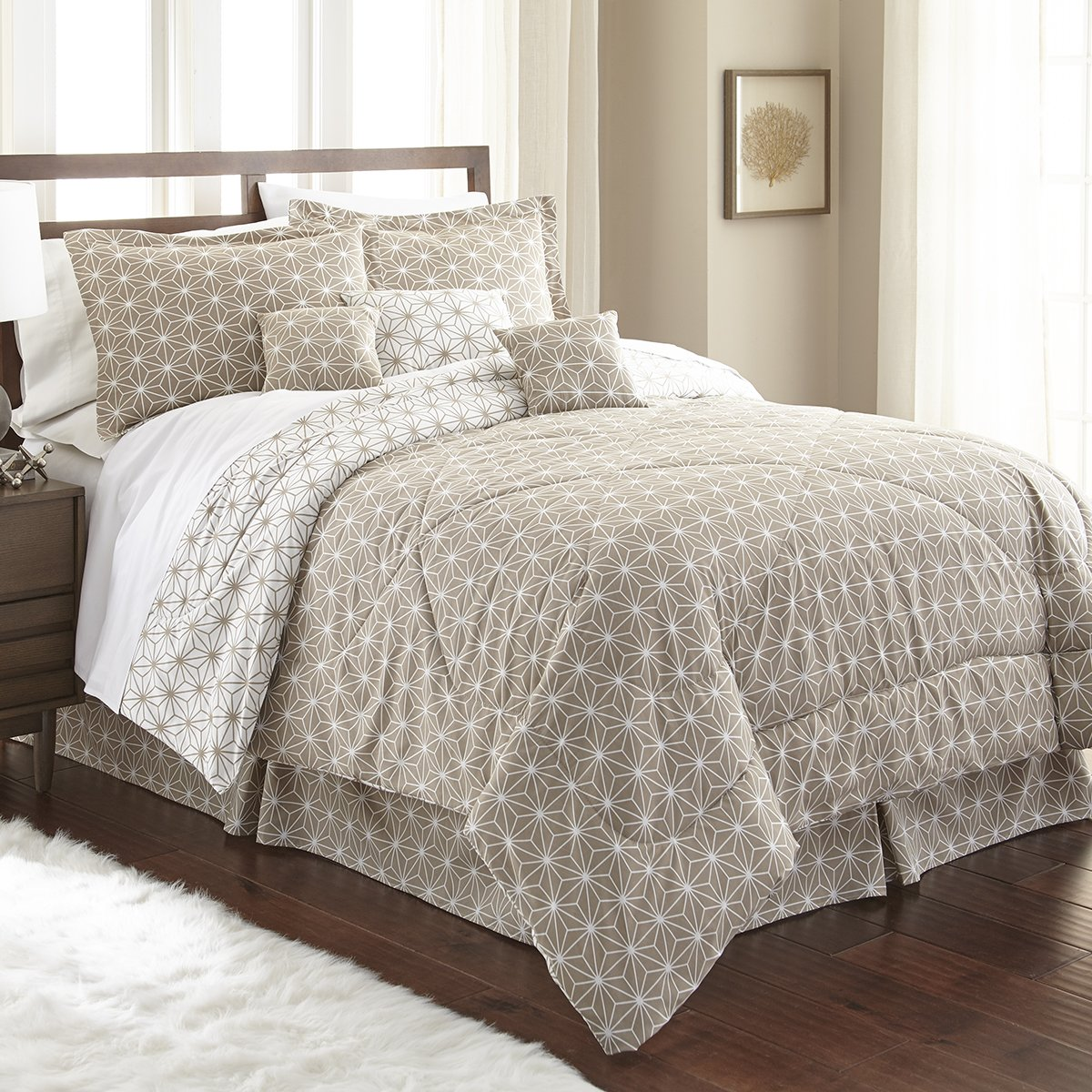 Spirit Linen, Inc Hotel 5th Ave Queen Taupe/White Hotel 5th Ave Galaxy Collection 7 PC Comforter Set