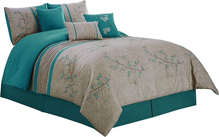 "Chezmoi Collection Noriko by Luxury 7-Piece Teal Cherry Blossoms Floral Embroidery Bedding Comforter Set (Queen, 90"" x 92"")"