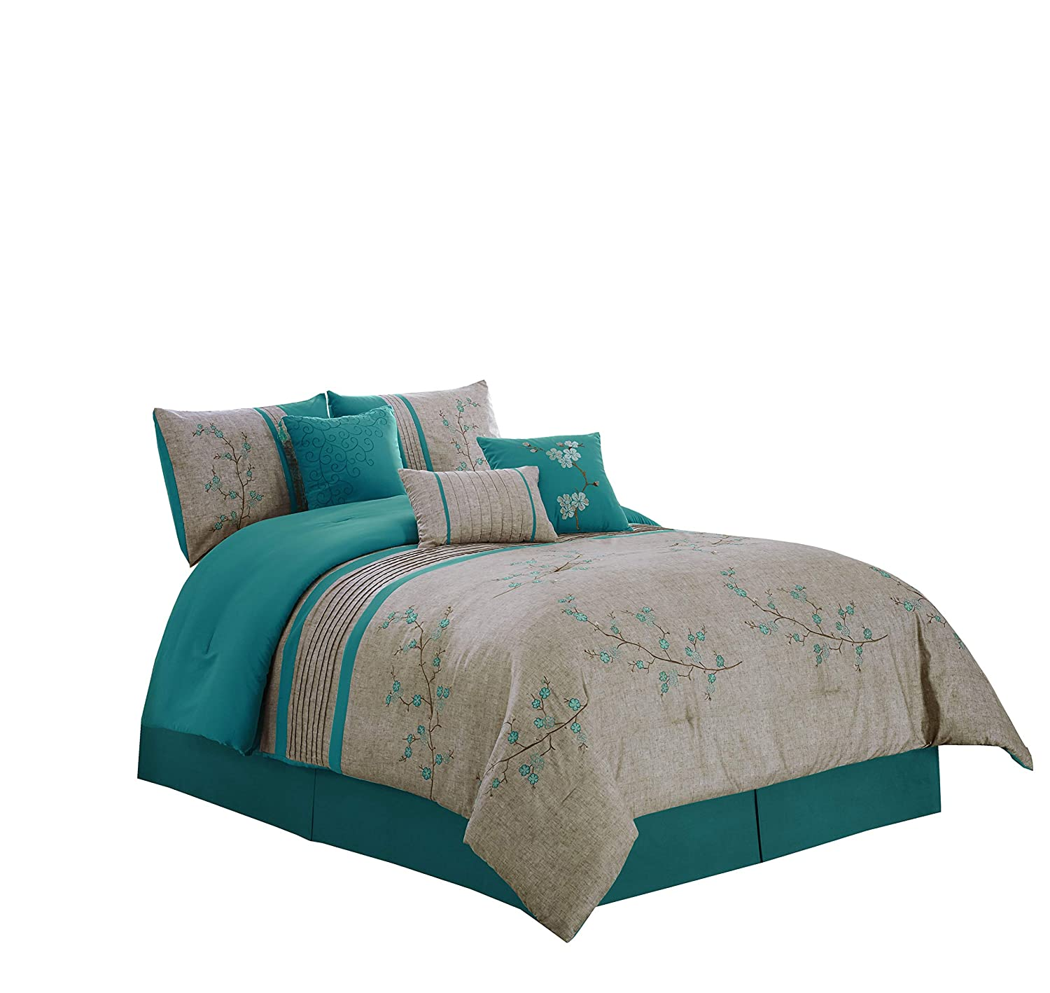 "Chezmoi Collection Noriko by Luxury 7-Piece Teal Cherry Blossoms Floral Embroidery Bedding Comforter Set (California King, 104"" x 96"")"