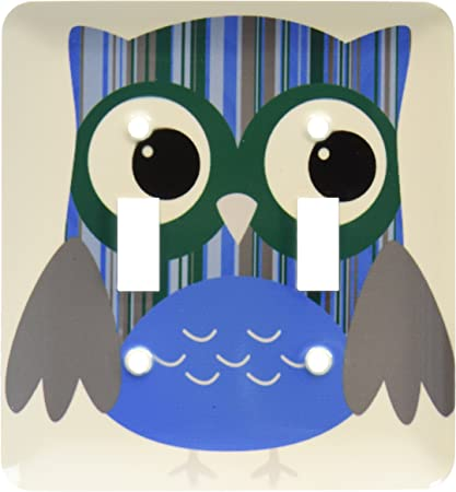 3drose Lsp 61003 2 Cute Bold Bright Blue Striped Owl Double Toggle Switch Switch Plates Amazon Com
