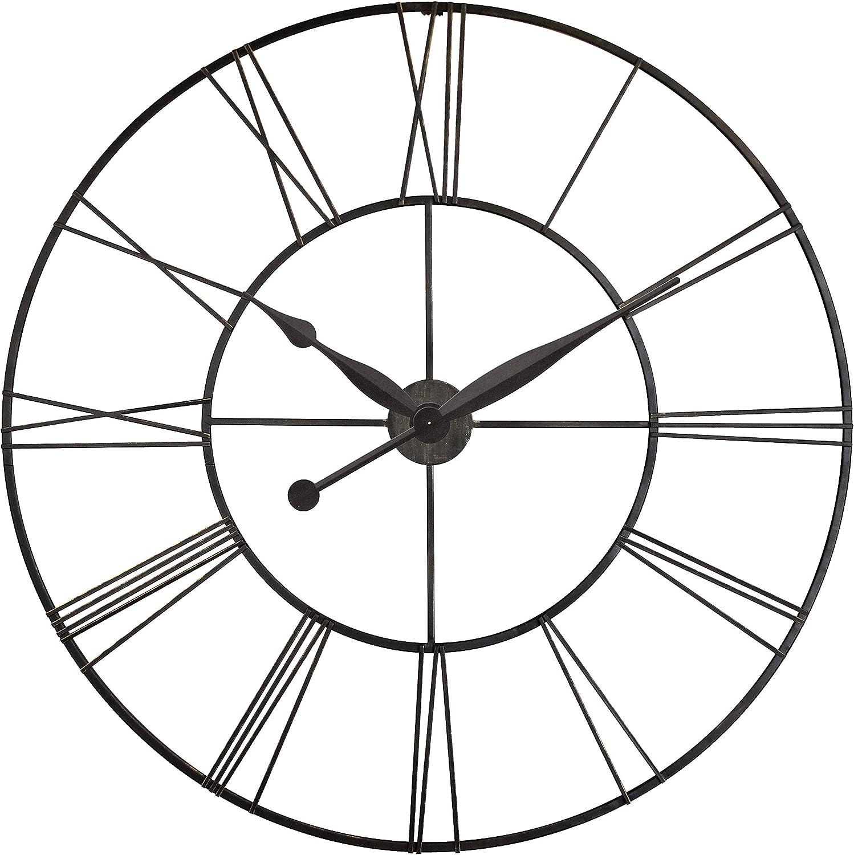 Skyscraper XXL Oversized Wall Clock Metal Roman Numeral Clock Numbers 45 inch Huge Wall Clock Open Face Wall Clock (Black)