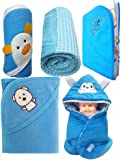 Brandonn Newborn Baby's Gift Pack Baby Blankets With Wrappers(Pack Of 5,Rich Blue)