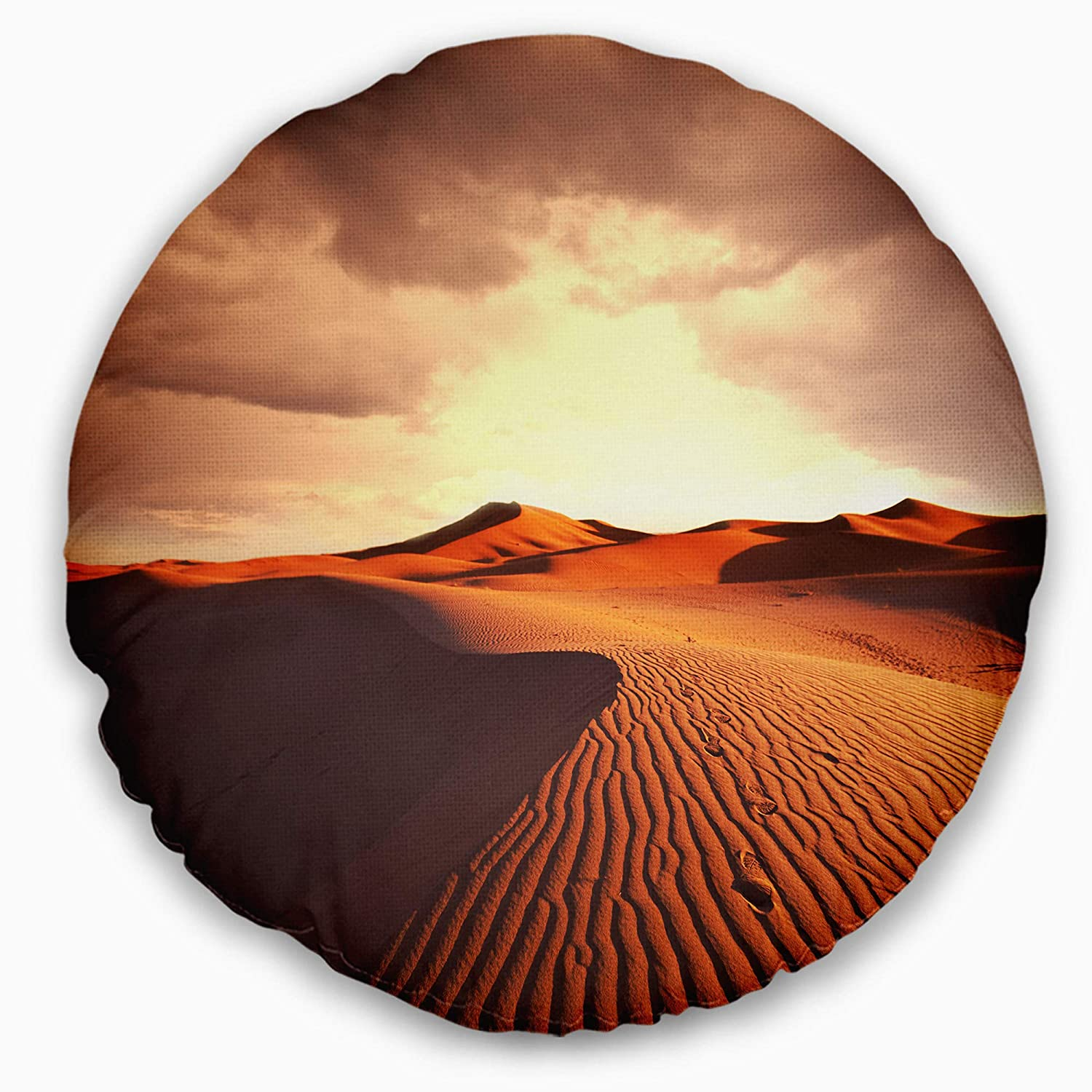 Designart CU12432-16-16-C Brown Desert Dunes at Sunrise' African Landscape Printed Round Cushion Cover for Living Room, Sofa, Throw Pillow, 16', Insert Side