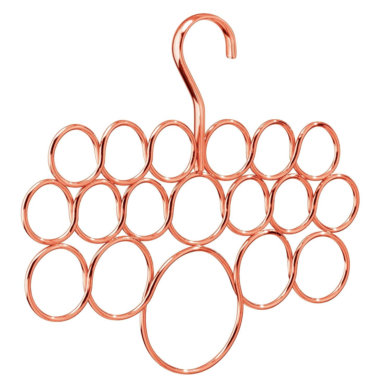 couleur cuivre iDesign rangement suspendu /à 18 anneaux pour /écharpes cravates et ceintures porte /écharpe rangement foulard fin en m/étal