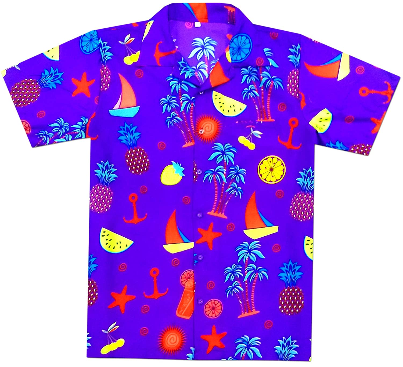Virgin Crafts Funky Hawaiian Shirts for Men Button Dowon Summer Vacation Aloha
