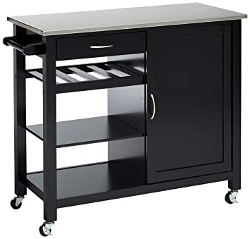 Major-Q Stainless Steel Top Black Finish Wheeled Kitchen Island Cart with  Spice, Towel Rack, Drawer, and Shelves, 9098317