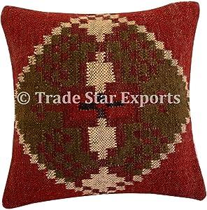 Trade Star Exports Handwoven Indian Cushion Cover 18x18, Kilim Pillows, Decorative Throw, Jute Pillowcases, Outdoor Cushions, Boho Pillow Shams for Home Decor(Pattern 10)