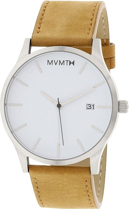 MVMT Reloj con Esfera Blanca para Hombre, con Correa de Cuero: Amazon.es: Relojes