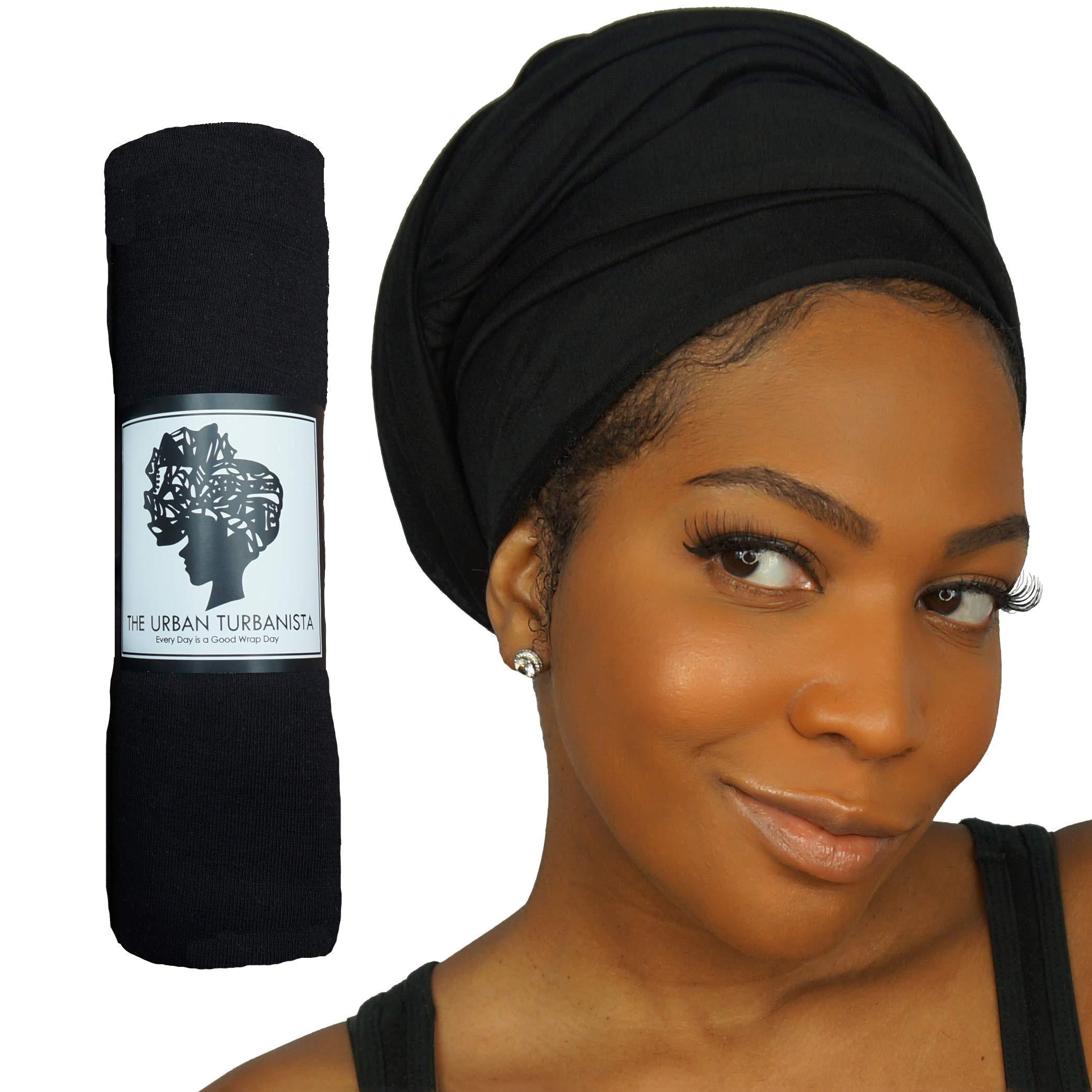 Headwraps & Turbans Long Stretch Head wrap Scarf by The Urban Turbanista - BLACK HEAD WRAP by The Urban Turbanista