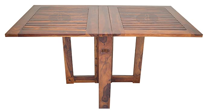 Angel Furniture Rosewood Handmade Folding Strip Design Honey Finish Dining Table, 62x32x31-inch