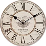 "WALL CLOCK NOSTALGIA BEIGE ""CHATEAU DE VERSAILLES"" ROMAN NUMERALS KITCHEN CLOCK MODERN - Tinas Collection - The different design"