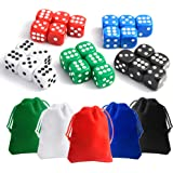 TUPARKA 25 Pieces Dice Set 6 Sided 5 Colours Spot Dice with Bags for Tenzi, Farkle, Yahtzee, Bunco or Teaching Math Dice Games