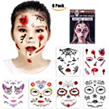 Temporary Face Tattoos - 6 Pcs Skull Scar Spider Blood Bat Rose Floral Fake Tattoos Sticker for Women Men Kids Boys Adults Including 6 Realistic Full Face Tattoo Mask Waterproof