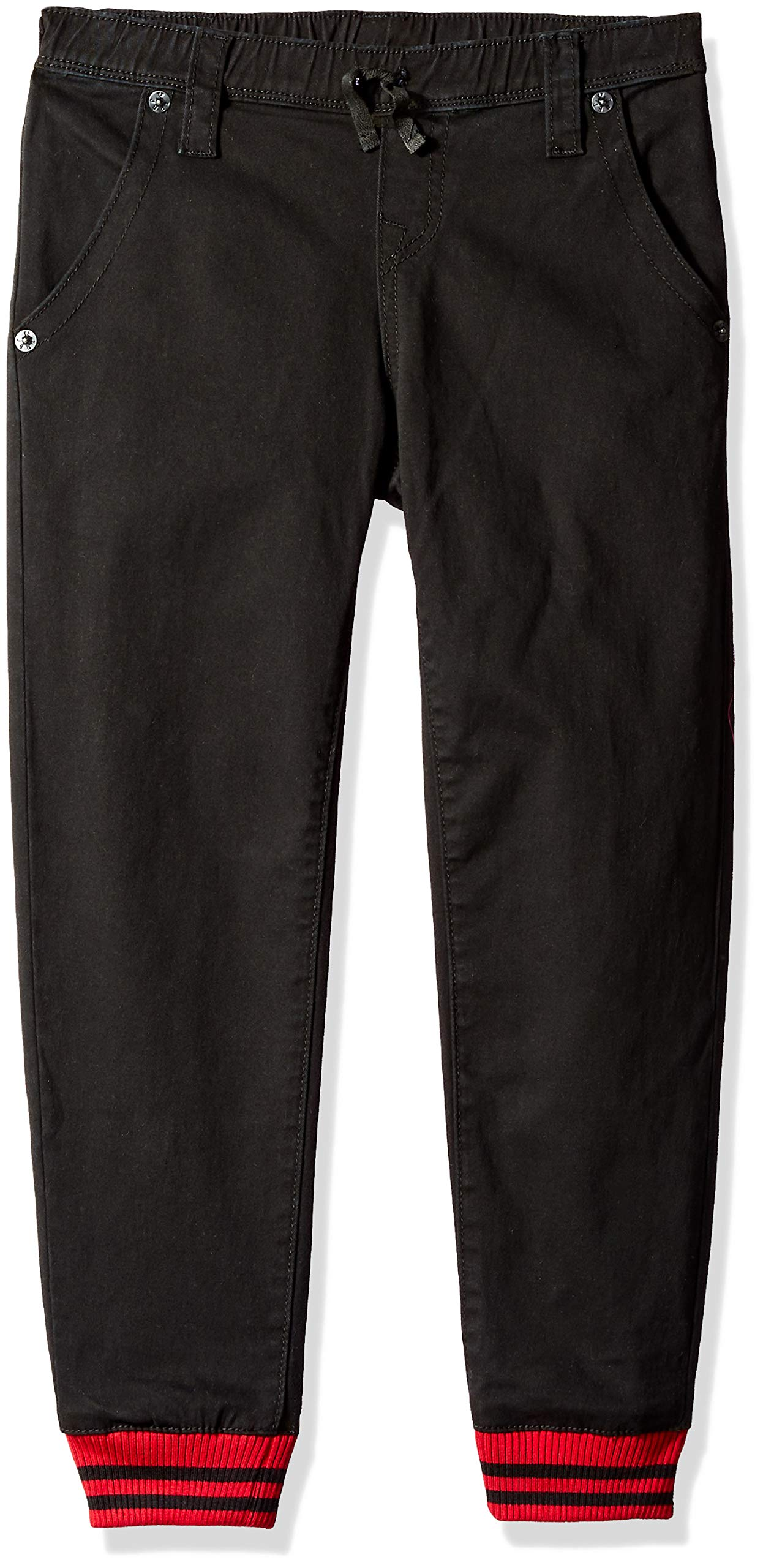 True Religion Boys' Little French Terry Sweatpant, Black/Turquoise, 7