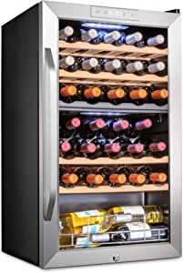 Ivation 33 Bottle Dual Zone Wine Cooler Refrigerator w/Lock | Large Freestanding Wine Cellar For Red, White, Champagne & Sparkling Wine | 41f-64f Digital Temperature Control Fridge Stainless Steel