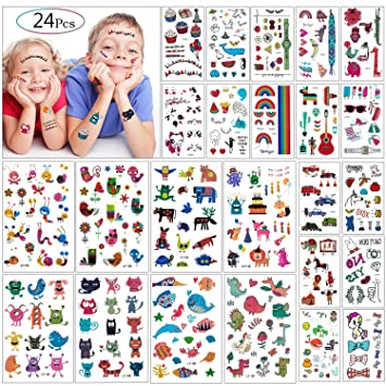 Tatuajes Temporales Para Niños Niñas, MOOKLIN 24 hojas Falso ...