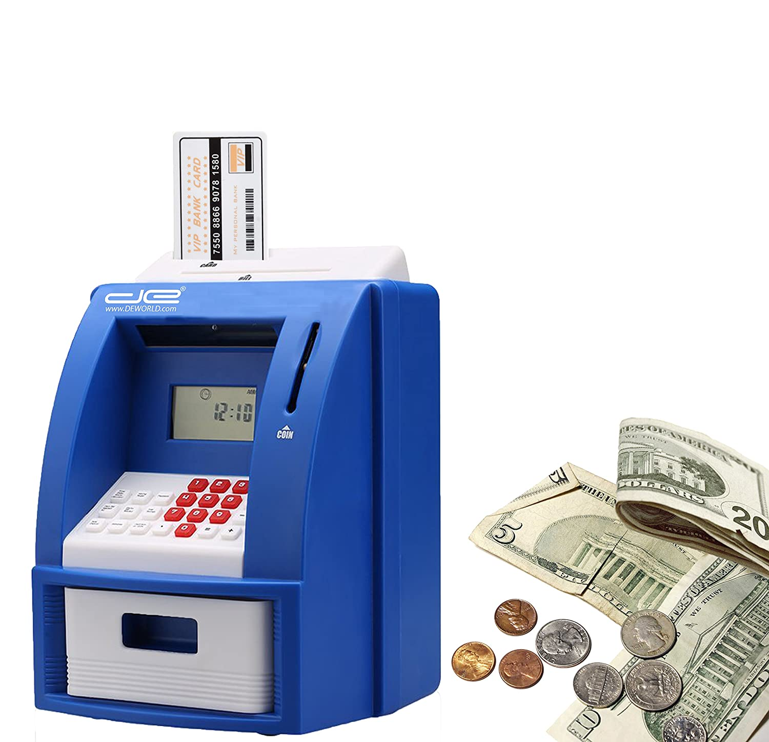 Coin Counter with Bill Slot Automatic U.S Blue Passcode Protected Banking Device for Kids Calculator Childrens Mini ATM Machine Safe Deposit Box Savings Bank Savings Goal Tracker