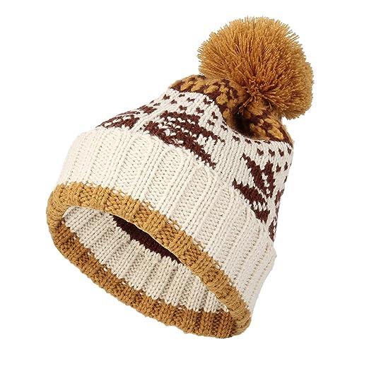 cad07b8c7c6 WITHMOONS Knit Fairs Isle Nordic Bobble Pom Beanie Hat JZP0026 (Ivory)