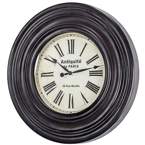 American Art Decor Antiquite De Paris 29 Rue Murillo Oversized Vintage Wood Wall Clock 31 Black