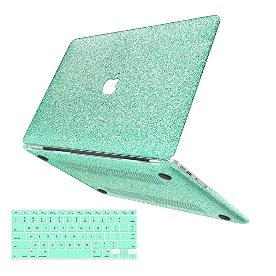 "macbook-air-13-inch-case,anban-glitter-bling-smooth-protective-laptop-shell-slim-snap-on-case-with-keyboard-cover-compatible-macbook-air-13""-(a1369-&-a1466),shining-mint-green by anban"