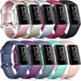 [10 Pack] Soft Silicone Wristbands Compatible with Fitbit Charge 4 Bands, Sports Replacement Straps for Fitbit Charge 4 / Fitbit Charge 3 / Charge 3 SE Women Men (10 Pack, Large)